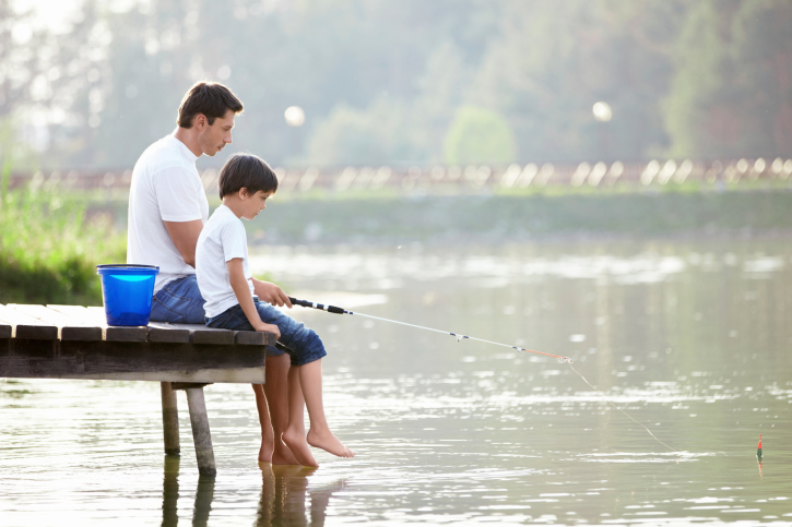 dad and son fishing