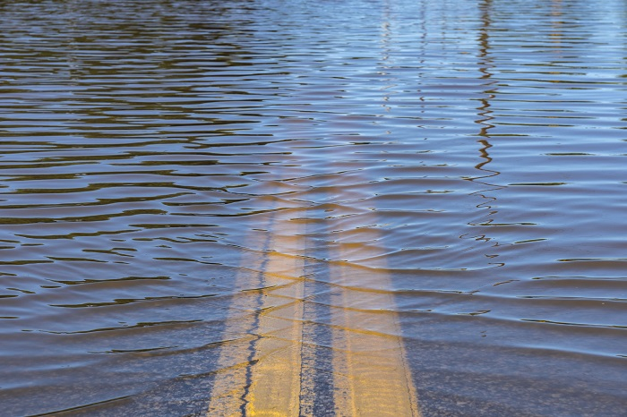 Floodwaters Over Road
